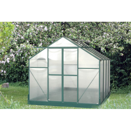 Serre jardin aluminium - avec base et 2 fenêtres / 7,44 m2 - HABRITA