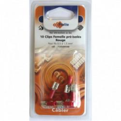 10 cosses clips pré-isolées femelles rouges de marque PROFILE, référence: B4298900