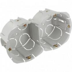 Boite double encastrée bibox entraxe 57mm diamètre 65-67mm profondeur 40mm a vis de marque BLM, référence: B4305500