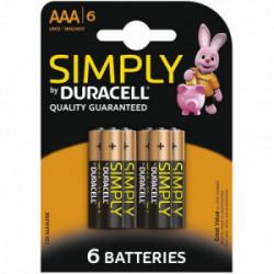 Blister 6 piles Simply AAA - LR03 de marque DURACELL, référence: B4311600