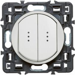 Celiane double interrupteur témoin blanc de marque LEGRAND, référence: B4346100