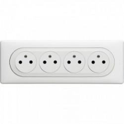 Celiane 4 prises de courant avec affleurant pré-cable blanc de marque LEGRAND, référence: B4346500