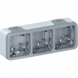 Plexo boîtier 3 postes horizontal composable gris de marque LEGRAND, référence: B4350700