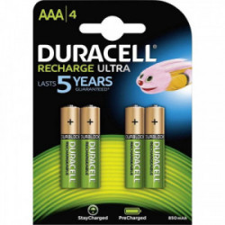 Blister 4 piles rechargeable ultra AAA 850mAh de marque DURACELL, référence: B4360900