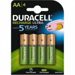 Blister 4 piles rechargeable ultra AA 2400mAh de marque DURACELL, référence: B4361000