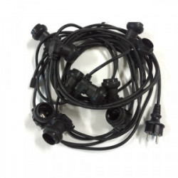 Guirlande 10 m - 10 douilles E27 cable rond noir IP44 de marque FOX LIGHT, référence: J4435100