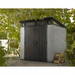 Abri Jardin résine - BROSSIUM MONOPENTE - 4,7 M²- GRIS BROSSE de marque CHALET & JARDIN, référence: J4452100