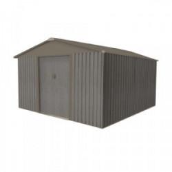 Abri jardin métal - Aspect BOIS VIEILLI 1010 - 9,66 M²- GRIS de marque CHALET & JARDIN, référence: J4453200