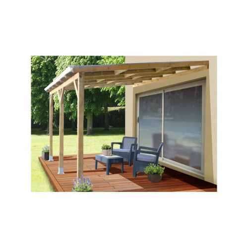 Chalet Jardin Toit Couv Terrasse Bois 3x3 7 Avec Toit