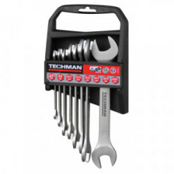 Jeu de 8 clés Doubles Fourches Industries: 6x7 / 8x9 / 10x11 / 12x13 / 14x15 / 16x17 / 18x19 / 20x22 mm de marque TECHMAN, référence: B4479900