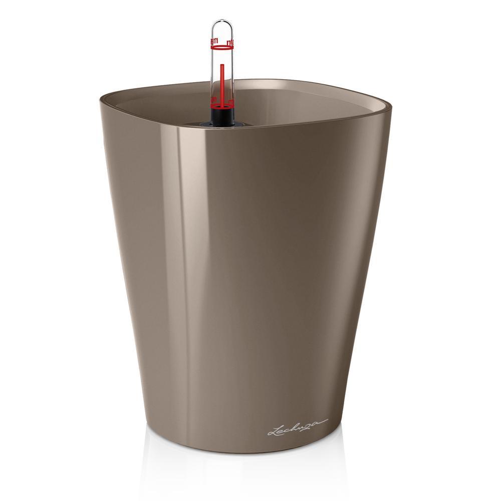 Pot de table Deltini - kit complet, taupe brillant Ø 14 x 18 cm
