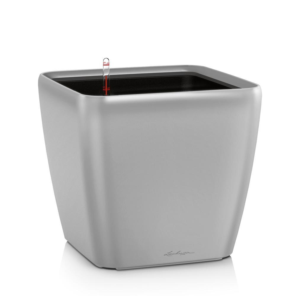Pot Quadro Premium LS 28 - kit complet, argent métallisé 28 cm