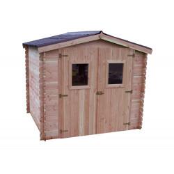 Abri DUBLIN Douglas madriers 28 mm -  5,71 m² - sans plancher - toit double pente de marque HABRITA, référence: J4613200
