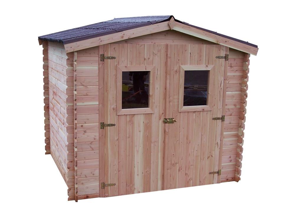 Abri DUBLIN Douglas madriers 28 mm - 5,32 m² - sans plancher - toit double pente