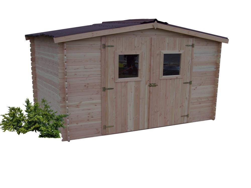 Abri DUBLIN Douglas madriers 28 mm - 9,85 m² - sans plancher - toit double pente