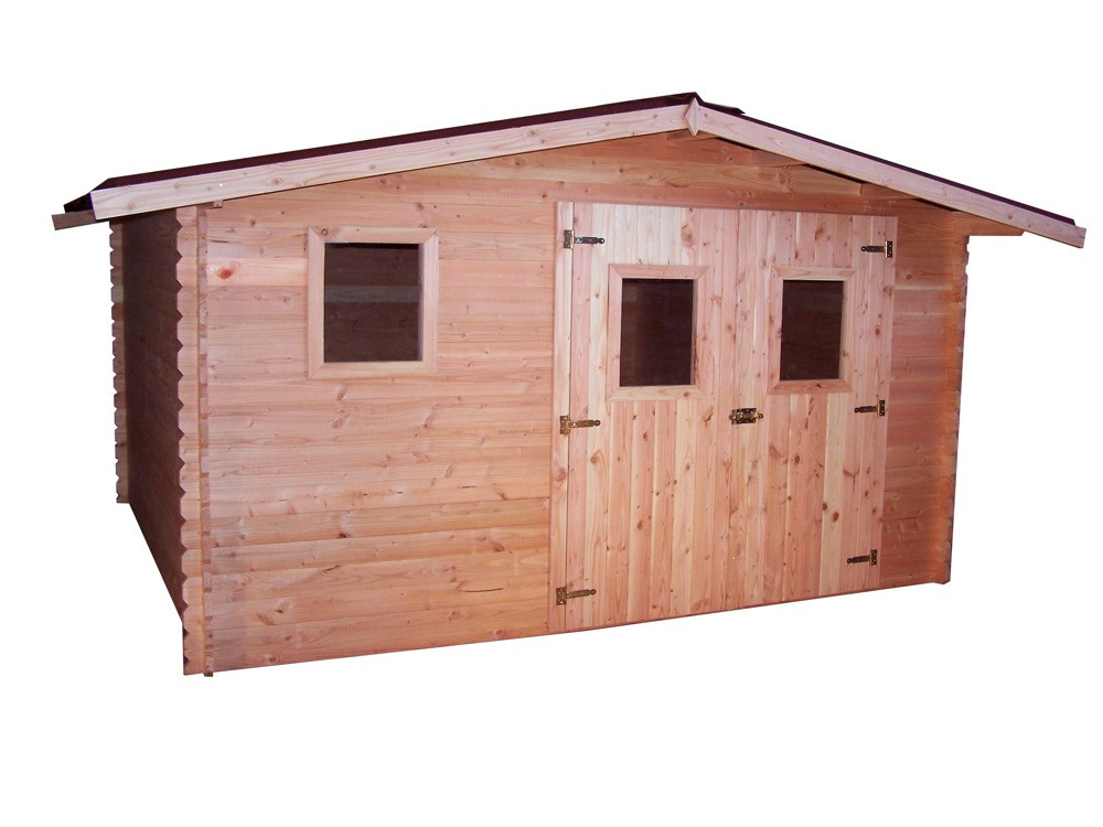 Abri DUBLIN madriers Douglas 28 mm sans plancher toit double pente 12,89 m²