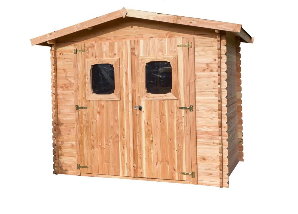 Abri DOMMAR Madriers Douglas 28 mm - 6,33 m² - sans plancher - toit double pente