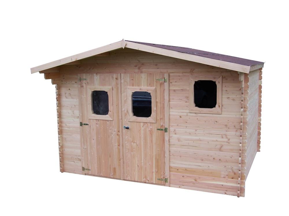 Abri DOMMAR Douglas madriers 28 mm - 15,27 m² - sans plancher - toit double pente