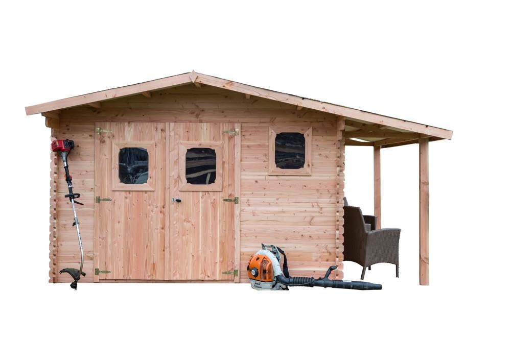 Abri DOMMAR Douglas madriers 28 mm - 19,65 m² - avec bûcher - sans plancher