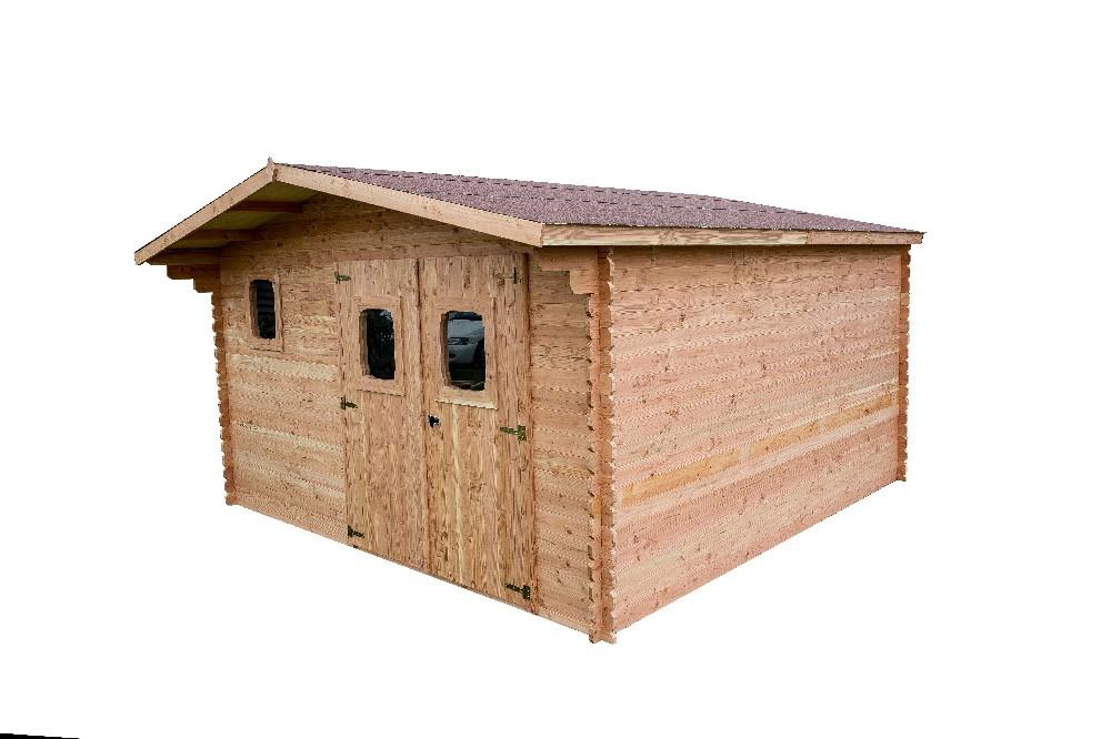 Abri DANUBE Douglas madriers 28 mm sans plancher toit double pente 14,74 m²