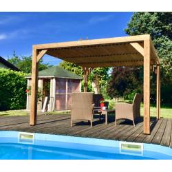 Pergola THERMAUVENT en bois thermo chauffé avec vantelles mobiles sur le toit de marque HABRITA, référence: J4615200