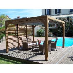 Pergola THERMAUVENT en bois avec vantelles mobiles sur toit et mur de marque HABRITA, référence: J4615400