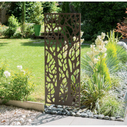 Panneau métal avec motifs décoratifs/Arbres - 0,60 x 1,50 m - Brun vieilli - NORTENE