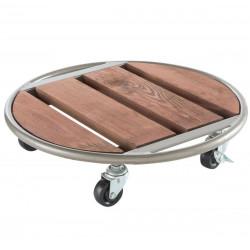 """Support à roulettes bois et métal """"Flora Roll Metal Wood"""" - 35 cm de marque NORTENE , référence: J4672000"""