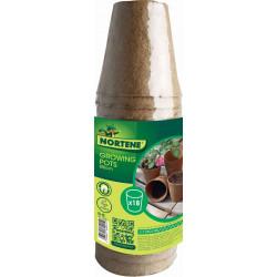 """18 pots pour semis """"Growing Pots""""- 100 % biodégradables - D 8 cm de marque NORTENE , référence: J4693400"""
