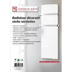Radiateur seche serviette décoratif design Blanc 1200W de marque CHEMIN'ARTE, référence: B4696000