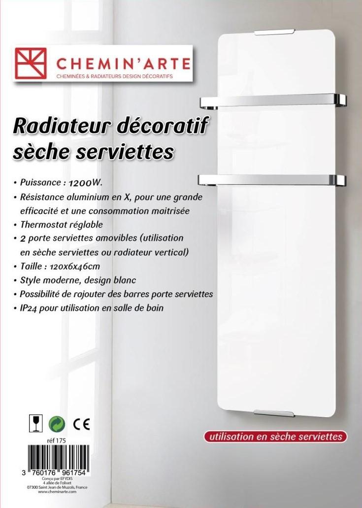 Radiateur seche serviette décoratif design Blanc 1200W