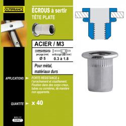 40 écrous à sertir M8 Ø16 x 1,5 mm 0,5 à 3 mm de marque OUTIFRANCE , référence: B4760500