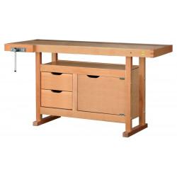Etabli bois 2 tiroirs 1 porte - H 0,82 x l 0,50 x L 1,50 m de marque OUTIFRANCE , référence: B4763600