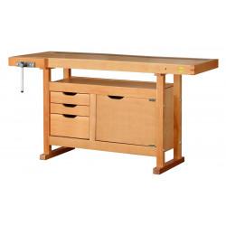 Etabli bois 3 tiroirs 1 porte - H 0,82 x l 0,50 x L 1,50 m de marque OUTIFRANCE , référence: B4763700