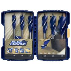 Coffret ABS de 6 mèches à bois hélicoïdales BLUE GROOVE 6 pans de marque Irwin, référence: B4815800