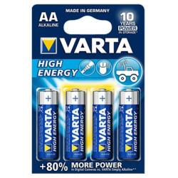 Carte de 4 piles HIGH ENERGY - 1,5 V LR6 / AA de marque VARTA, référence: B4839000