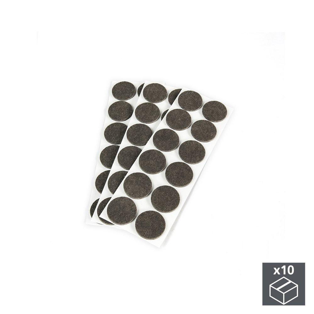 Lot de 10 sachets de 36 patins en feutre adhésifs circulaires de D. 40 mm