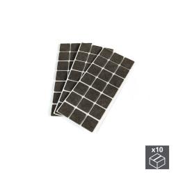 Lot de 10 sachets de 63 patins en feutre adhésifs carrés 30 x 30 mm de marque EMUCA, référence: B4853500