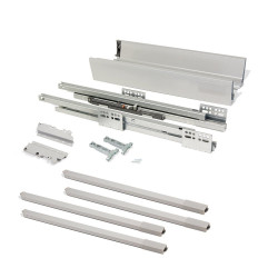 Kit de tiroir extérieur Vantage-Q hauteur 204 mm et profondeur 500 mm avec tringles finition gris métallisé de marque EMUCA, référence: B4874700
