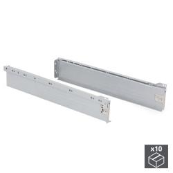 Lot de 10 kits de tiroir Ultrabox hauteur 86 mm et profondeur 500 mm finition gris métallisé de marque EMUCA, référence: B4875800