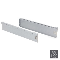 Lot de 10 kits de tiroir Ultrabox hauteur 118 mm et profondeur 500 mm finition gris métallisé de marque EMUCA, référence: B4876400