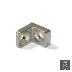 Lots de 50 équerres d'assemblage 20,5 x 20,7 mm à 2 trous de marque EMUCA, référence: B4891000