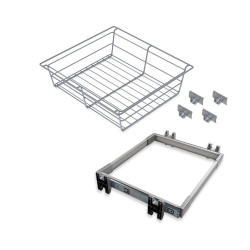 Kit de coulisses et panier métallique Keeper pour module 600 mm finition anodisé mat de marque EMUCA, référence: B4911000