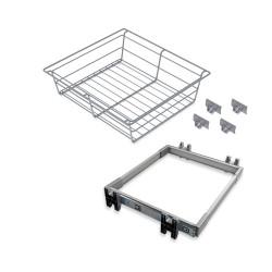 Kit de coulisses et panier métallique Keeper pour module 900 mm finition anodisé mat de marque EMUCA, référence: B4911200