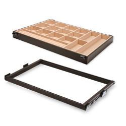 Kit de coulisses et tiroir organisateur Moka pour module 600 mm finition couleur moka de marque EMUCA, référence: B4912900