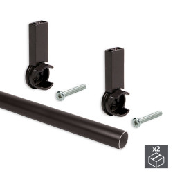 Kit de 2 barres penderie en aluminium D. 28 x 950 mm et supports Moka pour armoire finition couleur moka de marque EMUCA, référence: B4914500