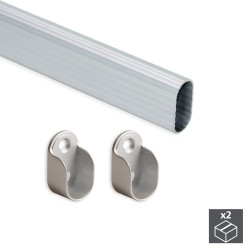 Kit de 2 tubes de penderie 30 x 15 mm en aluminium longueur 950 mm et supports pour armoire de marque EMUCA, référence: B4914900