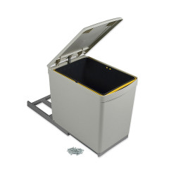 Poubelle de recyclage à fixation inférieure et extraction manuelle avec 1 conteneur de 16 litres et couvercle automatique de marque EMUCA, référence: B4917700
