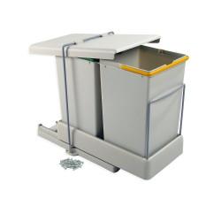 Poubelles de recyclage à fixation inférieure et extraction automatique avec 2 conteneurs 14 litros de marque EMUCA, référence: B4918000