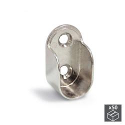 Lot de 50 supports pour barre de penderie armoire en zamak finition nickelé de marque EMUCA, référence: B4945400